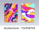 fluid color covers set.... | Shutterstock .eps vector #716958703