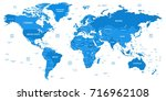 detailed world map with borders ... | Shutterstock .eps vector #716962108
