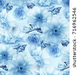 blue cherry sakura flower... | Shutterstock . vector #716962546