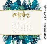 october   2018 calendar... | Shutterstock .eps vector #716962603