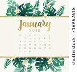 january   2018 calendar... | Shutterstock .eps vector #716962618
