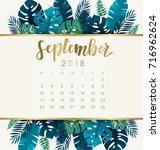september   2018 calendar... | Shutterstock .eps vector #716962624