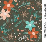 christmas flowers seamless... | Shutterstock .eps vector #716963980