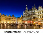 the grand place in brussels in... | Shutterstock . vector #716964070