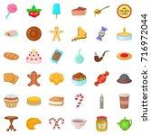 dessert icons set. cartoon... | Shutterstock .eps vector #716972044