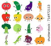 smiling vegetables icons set.... | Shutterstock .eps vector #716972113