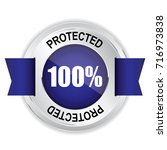 protected silver badge with... | Shutterstock . vector #716973838