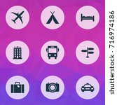 traveling icons set. collection ... | Shutterstock .eps vector #716974186