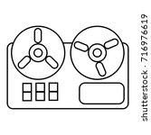 reel tape recorder icon.... | Shutterstock .eps vector #716976619