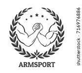 arm wrestling logo with two men ... | Shutterstock .eps vector #716976886