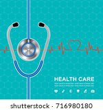 stethoscope and heartbeat flat... | Shutterstock .eps vector #716980180