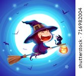halloween flying little witch.... | Shutterstock .eps vector #716982004