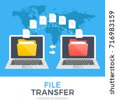 file transfer. two laptops with ... | Shutterstock .eps vector #716983159