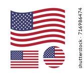 american flag set. rectangular  ...   Shutterstock .eps vector #716986474