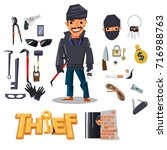 thief character design with... | Shutterstock .eps vector #716988763