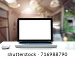 conceptual workspace empty... | Shutterstock . vector #716988790