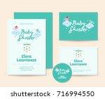 cute baby shower invitation  ... | Shutterstock .eps vector #716994550