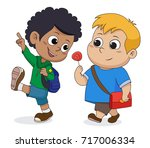 kid walking to school.back to... | Shutterstock .eps vector #717006334