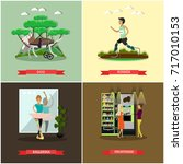 set of disabled people posters. ... | Shutterstock . vector #717010153