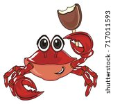 happy crab hold an ice cream | Shutterstock . vector #717011593