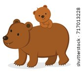 mother bear and her baby bear.... | Shutterstock .eps vector #717013228