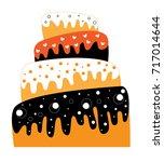 happy halloween cake   Shutterstock . vector #717014644