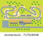 cartoon race track with cars... | Shutterstock .eps vector #717018448