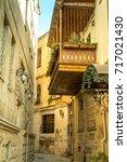 narrow old classic empty street ...   Shutterstock . vector #717021430