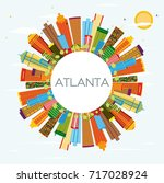 atlanta skyline with color... | Shutterstock .eps vector #717028924