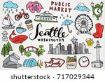 seattle washington monuments  ... | Shutterstock .eps vector #717029344
