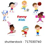 boys and girls playing sports... | Shutterstock .eps vector #717030760