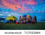 camping of happy asian young... | Shutterstock . vector #717032884