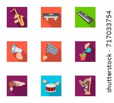 musical instrument  garbage and ... | Shutterstock .eps vector #717033754