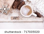 cocoa  coffee with marshmallows ... | Shutterstock . vector #717035020
