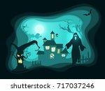 halloween night poster... | Shutterstock .eps vector #717037246