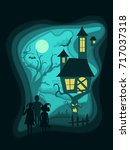 halloween night background with ... | Shutterstock .eps vector #717037318