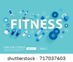 fitness concept workout with... | Shutterstock .eps vector #717037603