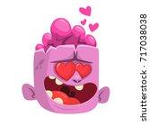 cartoon pink zombie in love. st....   Shutterstock .eps vector #717038038