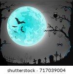 halloween card banner. eps10 | Shutterstock .eps vector #717039004