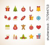 set of flat christmas icons.... | Shutterstock .eps vector #717044713