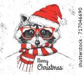 christmas hipster fashion... | Shutterstock .eps vector #717046690