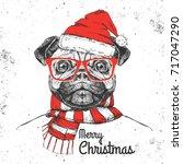 christmas hipster fashion... | Shutterstock .eps vector #717047290
