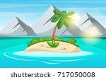 island cartoon. sea and sun.... | Shutterstock .eps vector #717050008