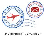 express delivery postmarks.... | Shutterstock .eps vector #717050689