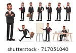 happy businessman. a character... | Shutterstock .eps vector #717051040