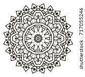 mandala. black and white... | Shutterstock . vector #717055246