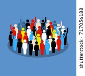 people in the crowd raising... | Shutterstock .eps vector #717056188