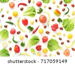 food collage of fresh... | Shutterstock . vector #717059149