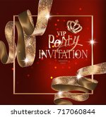 vip invitation card with gold... | Shutterstock .eps vector #717060844