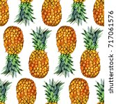 watercolor pineapple seamless... | Shutterstock . vector #717061576